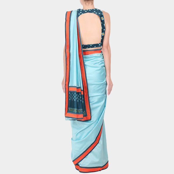 Blue Chanderi Saree With Royal Blue Geometric Print Stitched Sleeveless Blouse