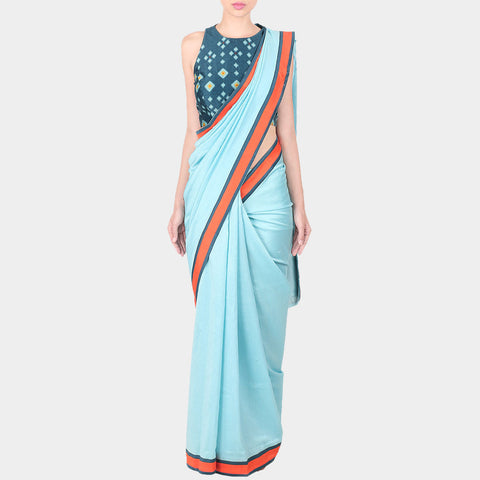 Blue Chanderi Saree With Royal Blue Geometric Print Stitched Sleeveless Blouse by SOUP by Sougat Paul