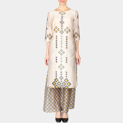 Set of White High Low Geometric Print Chanderi Kurta with Straight Printed Palazzo by SOUP by Sougat Paul