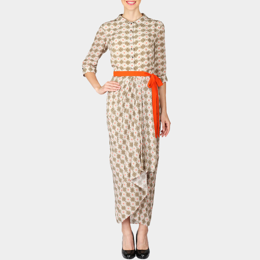 White Geometric Print Crepe Draped Shirt Dress With Contrast Belt by SOUP by Sougat Paul