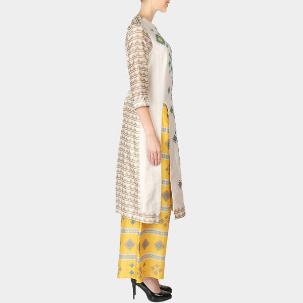 Set Of White Front Slip Geometric Print Chanderi Kurta With Yellow Palazzo