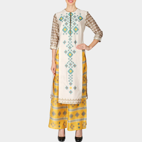 Set of White Front Slip Geometric Print Chanderi Kurta with Yellow Palazzo by SOUP by Sougat Paul