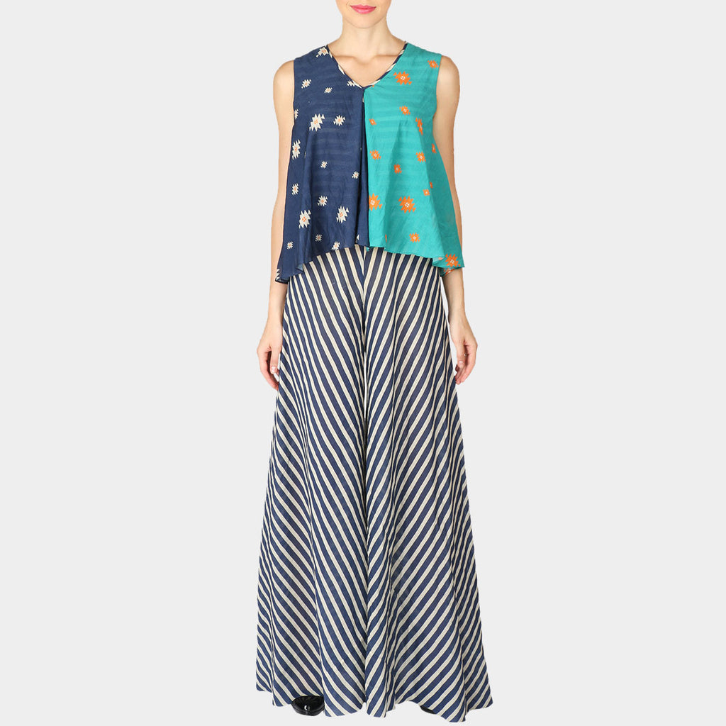 Half & Half Indigo & Sky Blue Geometric Print Cotton Silk Stripe Jumpsuit With Attached Top by SOUP by Sougat Paul