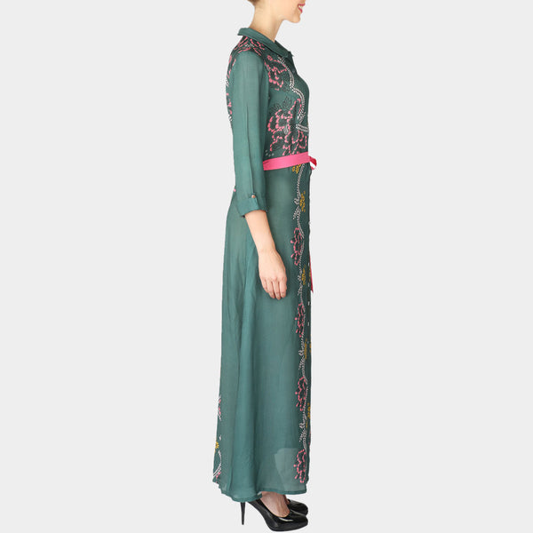 Sea Green Geometric Print Double Georgette Full Length Shirt Dress