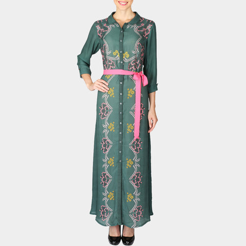 Sea Green Geometric Print Double Georgette Full Length Shirt Dress by SOUP by Sougat Paul