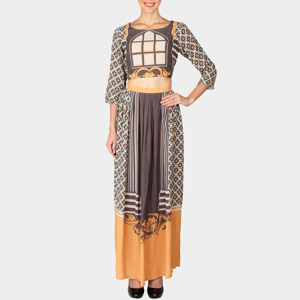 Set Of Brown Geometric Print Moss Crepe Crop Top & Skirt by SOUP by Sougat Paul