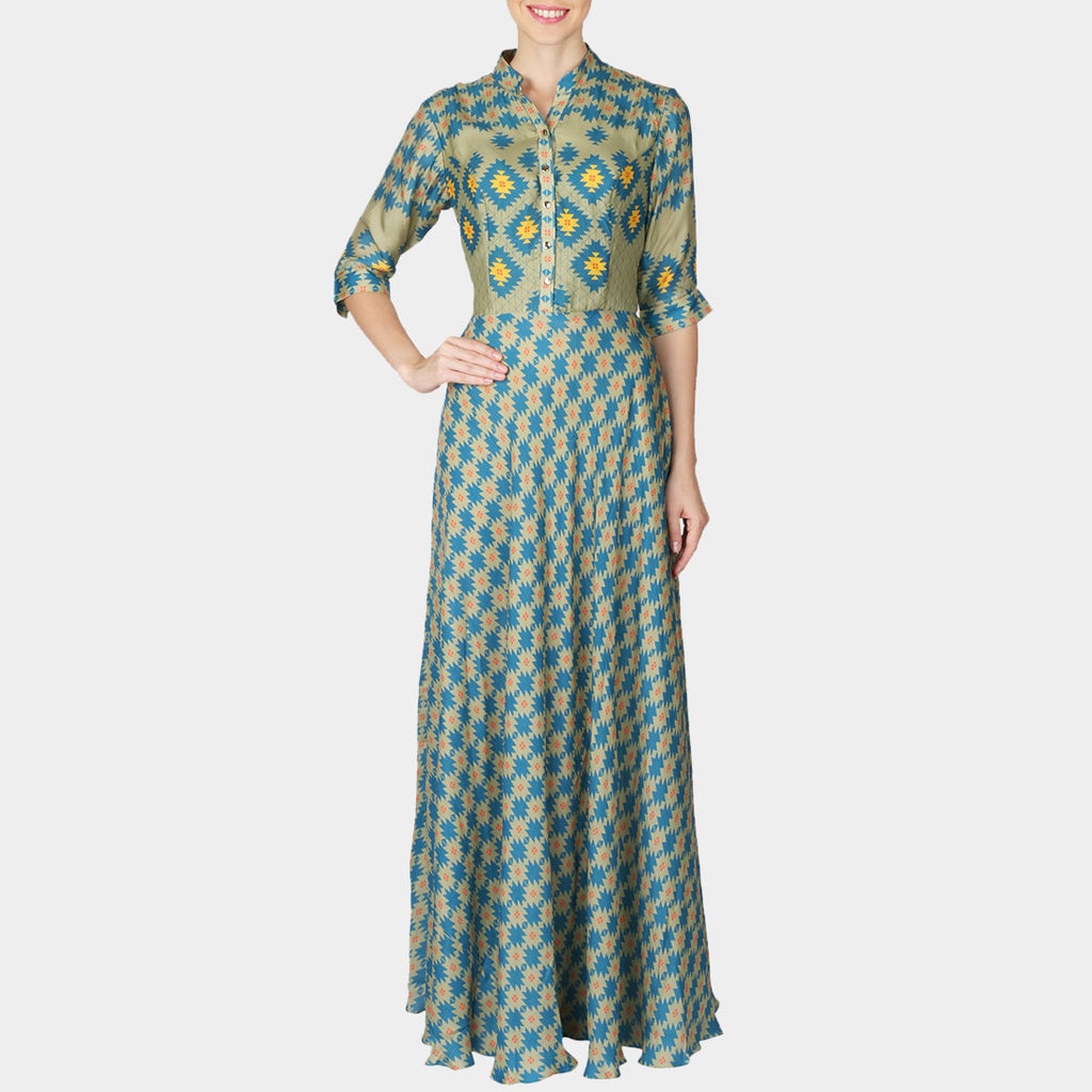 Sea Green Geometric Print Satin Full Length Bias Dress by SOUP by Sougat Paul