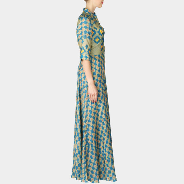 Sea Green Geometric Print Satin Full Length Bias Dress