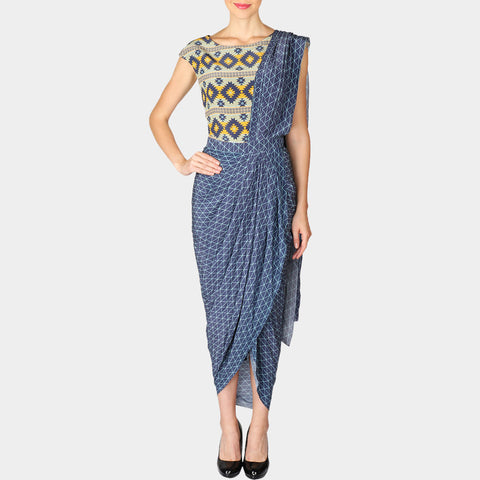 Light Purple Draped Geometric Print Crepe Saree with Attached Blouse by SOUP by Sougat Paul