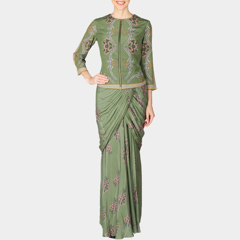 Green Geometric Print Crepe Saree by SOUP by Sougat Paul