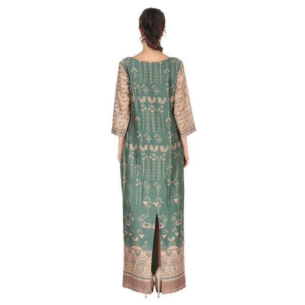 Chanderi Long Dress In Green