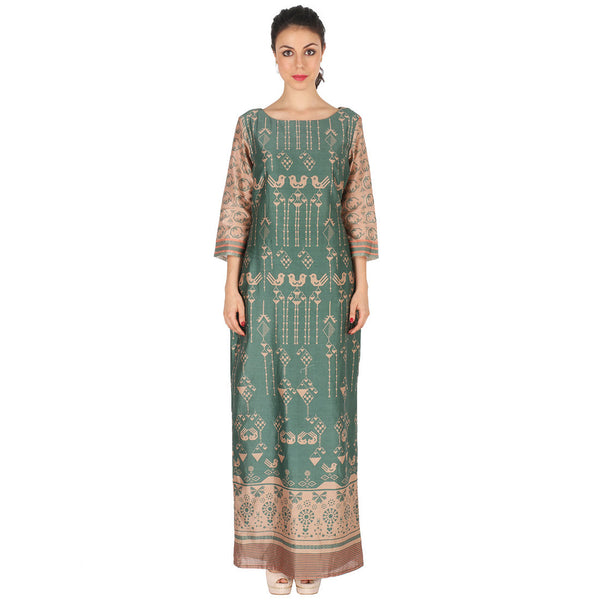Chanderi Long Dress In Green by Soup by Sougat Paul