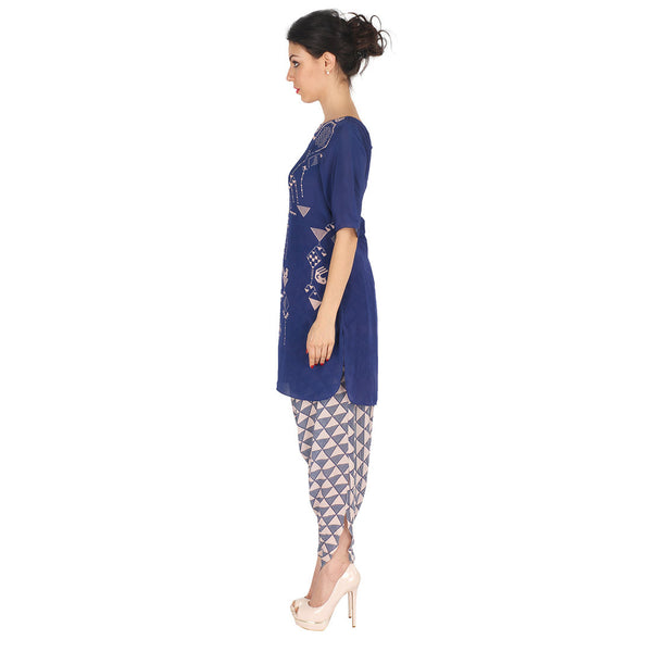 Blue Kurta & Grey Patiala In Crepe