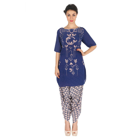 Blue Kurta & Grey Patiala In Crepe by Soup by Sougat Paul