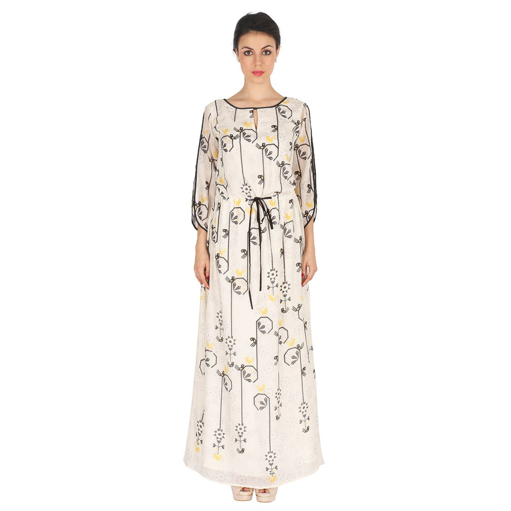 White Long Dress In Cotton Silk by Soup by Sougat Paul