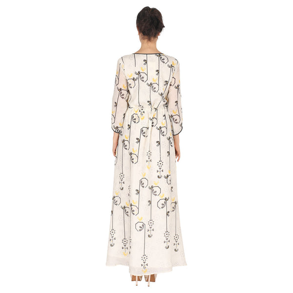 White Long Dress In Cotton Silk