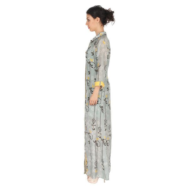Long Shirt Dress In Cotton Silk