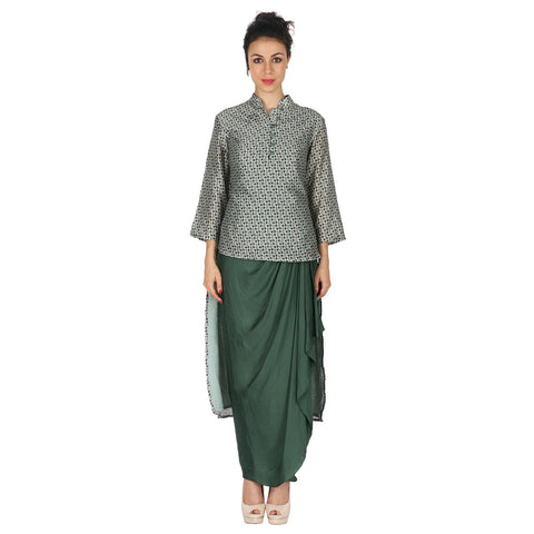 Chanderi Kurta & Green Dhoti In Satin by Soup by Sougat Paul