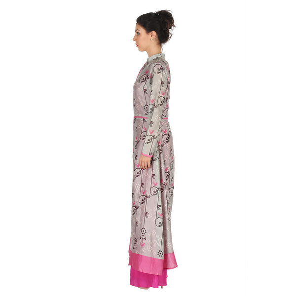 Chanderi Long Jacket In Grey & Fuchsia Jumpsuit