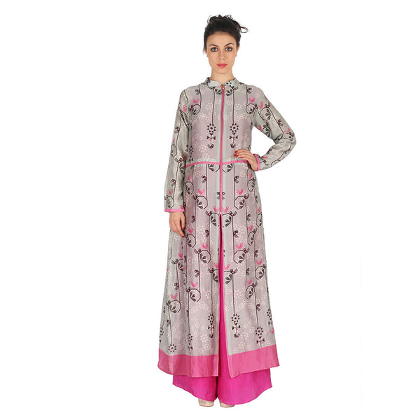 Chanderi Long Jacket In Grey & Fuchsia Jumpsuit by Soup by Sougat Paul