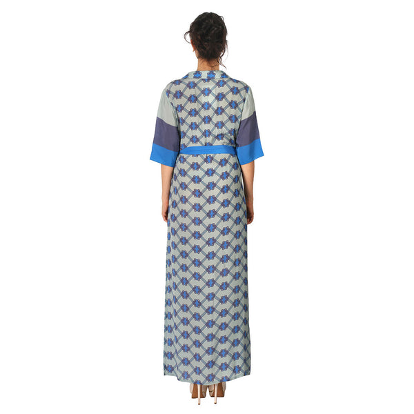 Crepe Long Dress In Blue