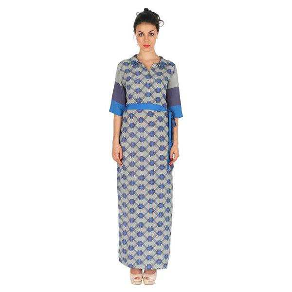 Crepe Long Dress In Blue by Soup by Sougat Paul