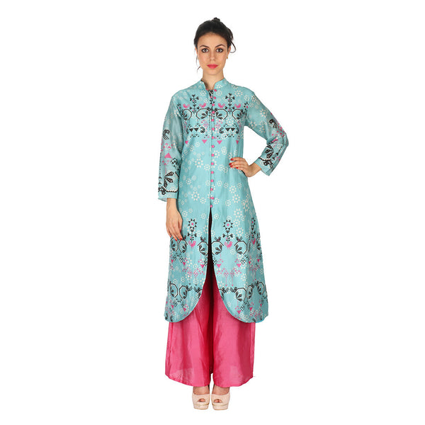 Chanderi Kurta In Aqua & Fuchsia Palazzo by Soup by Sougat Paul