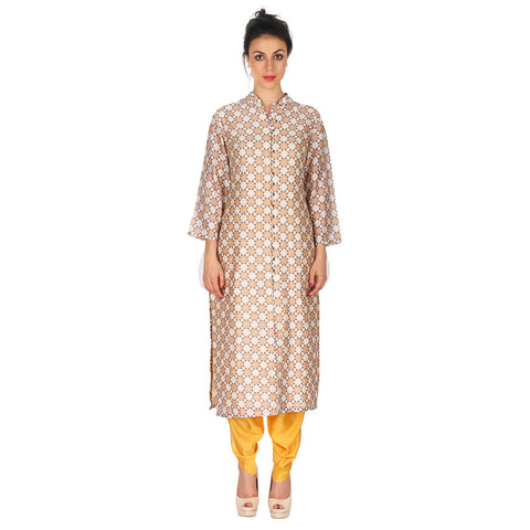 Chanderi Kurta In Beige & Patiala In Yellow by Soup by Sougat Paul