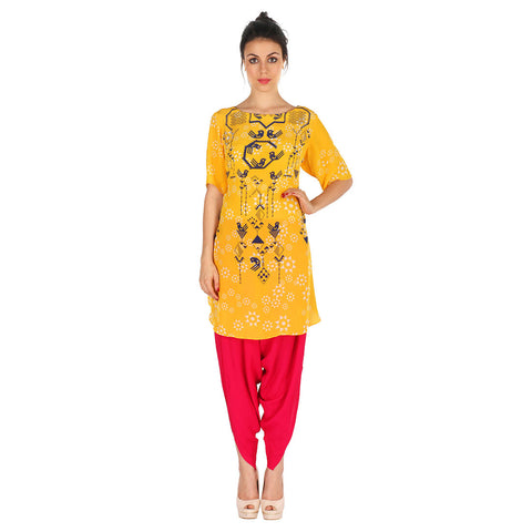 Yellow Kurta & Fuchsia Patiala In Crepe by Soup by Sougat Paul