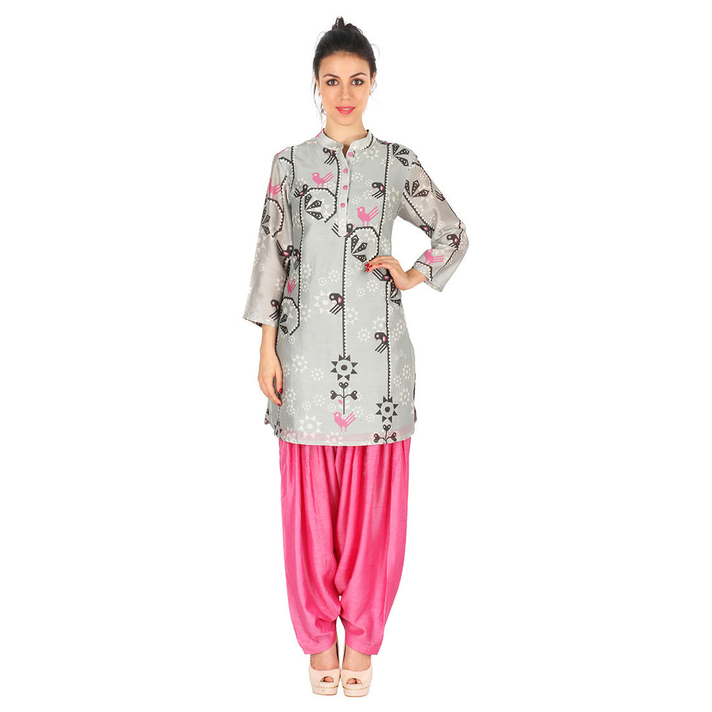 Chanderi Kurta In Grey & Patiala In Fuchsia by Soup by Sougat Paul