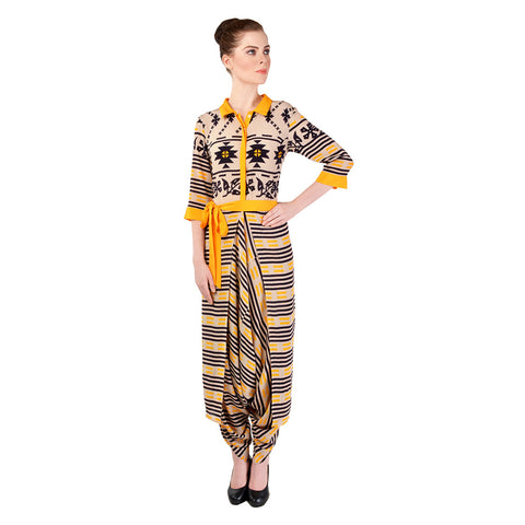 Multicolored Crepe Jumpsuit by SOUP by Sougat Paul