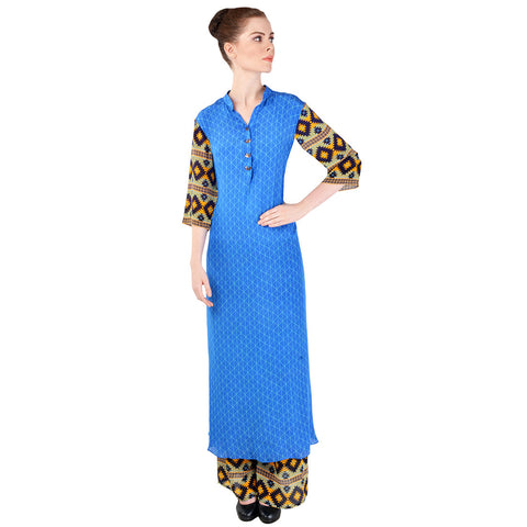 Cobalt Blue Crepe Kurta & Palazzo Pants by SOUP by Sougat Paul