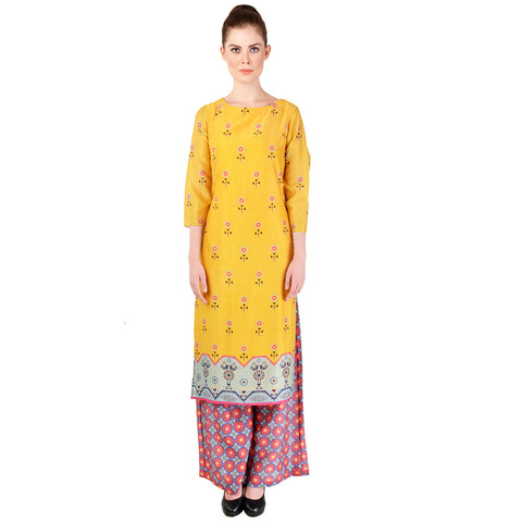 Yellow Printed Kurta & Palazzo Set by SOUP by Sougat Paul