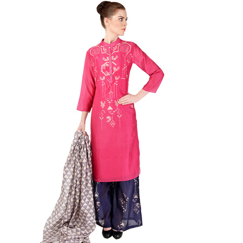 Pink Chanderi Kurta & Palazzo Set by SOUP by Sougat Paul