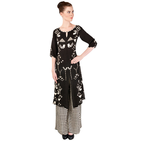 Black Double Gorgette Kurta & Palazzo Set by SOUP by Sougat Paul