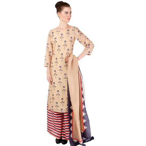 Beige Chanderi Kurta & Palazzo Set by SOUP by Sougat Paul