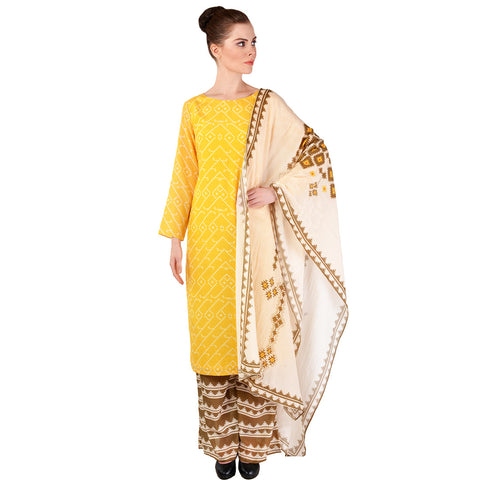 Yellow Chanderi Kurta & Palazzo Set by SOUP by Sougat Paul