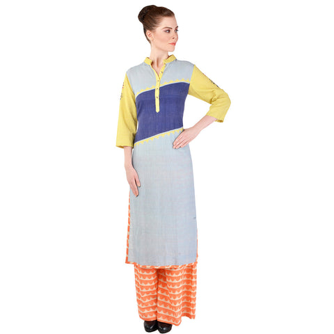 Multicolored Kurta & Palazzo Set by SOUP by Sougat Paul