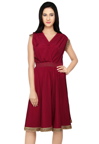 Maroon Faux Crepe Readymade Tunic by Tadpole Store