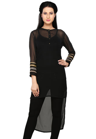Black Faux Georgette Readymade Tunic by Tadpole Store