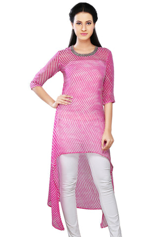 Pink and Off White Faux Georgette Readymade Asymmetric Tunic by Tadpole Store