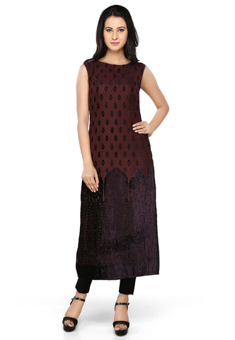 Brown Nylon Georgette Readymade A line Tunic by Tadpole Store