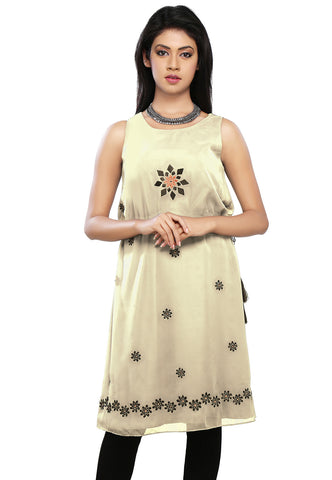 Off White Faux Georgette Readymade Flared Tunic by Tadpole Store