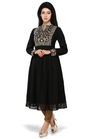 Black Faux Georgette Readymade Flared Tunic by Tadpole Store