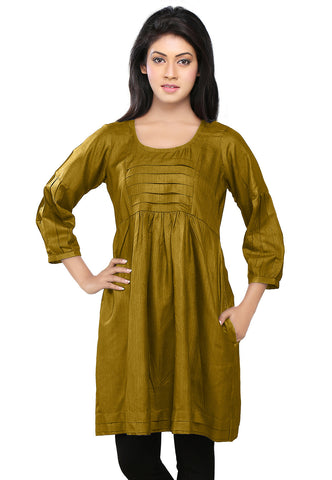 Olive Green Cotton and Tussar Silk Readymade Tunic by Tadpole Store