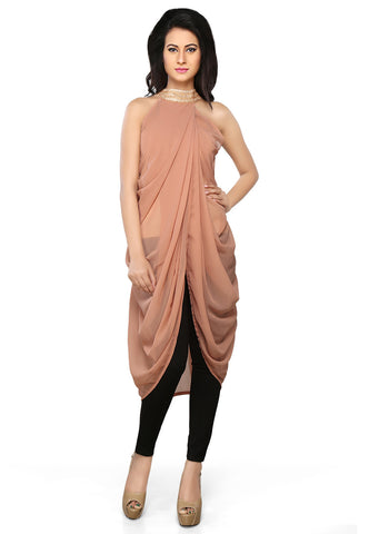Light Brown Faux Georgette Readymade Dhoti Style Tunic by Tadpole Store