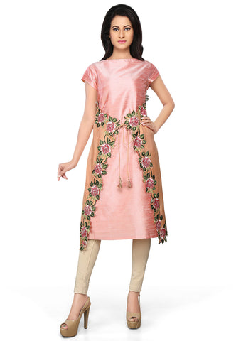Light Pink and Peach Raw Silk Readymade A-line Tunic by Tadpole Store