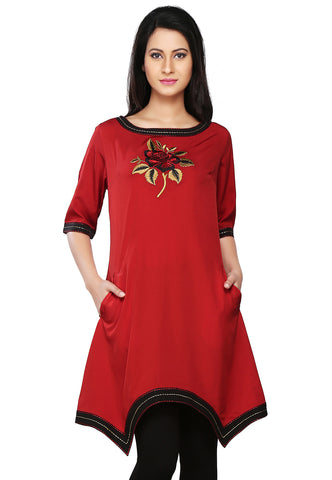 Red Faux Crepe Readymade Asymmetric Tunic by Tadpole Store
