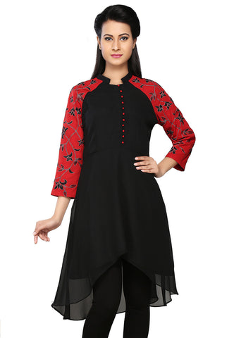 Black and Red Faux Georgette and Faux Crepe Readymade Asymmetric Tunic by Tadpole Store