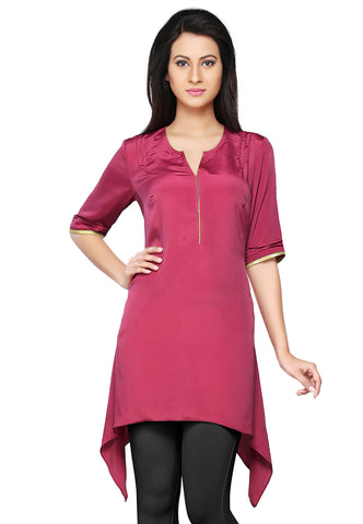 Magenta Faux Crepe Readymade Asymmetric Tunic by Tadpole Store